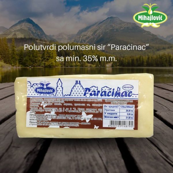 Paraćinac - polutvrdi polumasni sir od parenog testa sa 35%